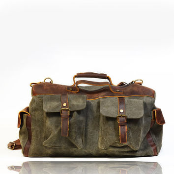 New Genuine Leather and Canvas Messenger Bag army military vintage washed old used look shoulder postman holdall bag