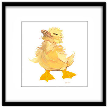 Scruffy Duckling Nursery Art, Printable Kids Wall Art, Cute Yellow Duck, Print Your Own Art and Cards