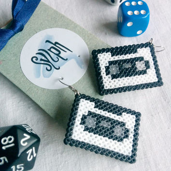 White 8bit geeky Retrotape cassette earrings made of Hama Mini Beads perfect gift for pixel-perfect music lovers