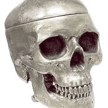 Silver Human Skull Shaped Box - PLASTICLAND