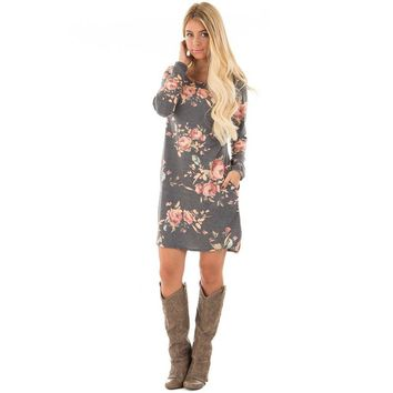Western Fashion Floral Shirt Dress with Pockets