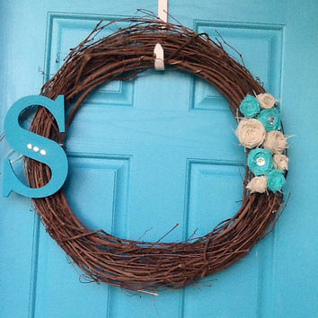 Grapevine a Wreath with Burlap Flowers