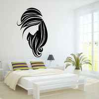 Wall Decor Vinyl Sticker Room Decal Art Glamour Hair Salon Logo Sign Girl Haircut 681