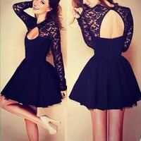 Black Long Sleeve Cut Out A-Line Dress