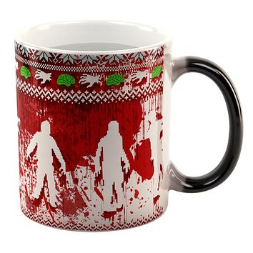 Ugly Christmas Sweater Bloody Zombie Attack Survivor All Over Heat Changing Coffee Mug