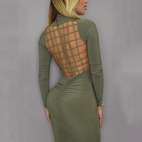 Backless Braid Long-Sleeved Midi Bodycon Dress