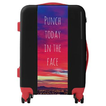 """Punch"" quote pink sunrise photo luggage suitcase"