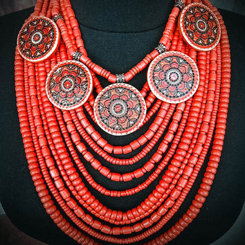 Multistrand Red Ethnic Ceramic Beaded Handmade Pendant Necklace For Woman. Statement necklace. Gift For Her. Three Snails. Free Shipping!