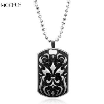 MQCHUN New Arrival Jewelry fashion skeleton pendant Necklace Dog Tag punk cross jewelry The military heart cross Men Cool Gift