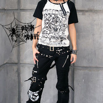 Punk Rave Rockabily Pants Mens Womens Gothic Streampunk Trousers S-XXL Alternative Measures
