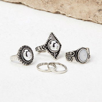 Etched Faux Gem Midi Ring Set