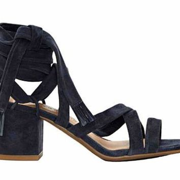 ICIKAB3 Lucky Brand Idalina Moroccan Blue Suede Lace Up Block Heel Sandals