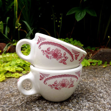 Homer Laughlin Coffee Cups - Set of 2 Heavy Weight - American Rose Pattern Cups - Party Cups - Restaurantware
