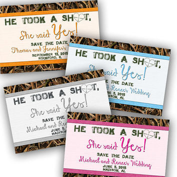 He Took a Shot Shotgun Save the Date - Camo Wedding Save the Date Cards - Camouflage Wedding Postcards - She Said Yes - Pink - Blue - Orange