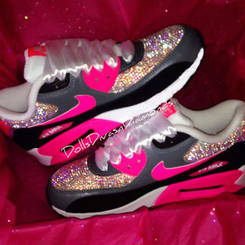 Pink   Grey Swarovski Nike Air Max from Dolls Divas and c093bd826