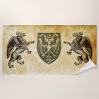 griffins with shield beach towel