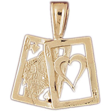 14K GOLD GAMBLING CHARM - PLAYING CARDS #5441