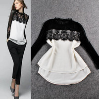 Sheer Mesh Lace Long Sleeves Layered Hem Top