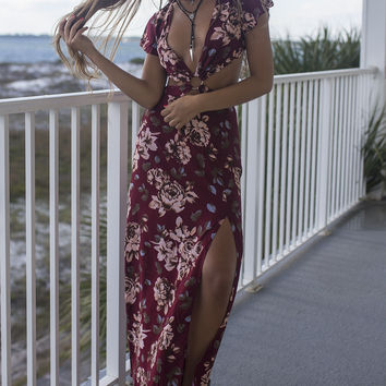Socotra Red Floral Print Maxi Dress With Cut Outs