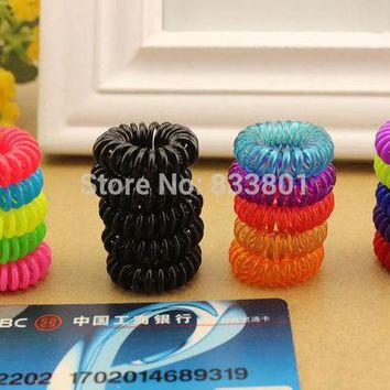 DCCKL3Z 10pcs/lot 28mm Child baby Telephone Cord Elastic Ponytail Holders Hair Ring Accessories Girl Women Rubber Bands Tie Gum
