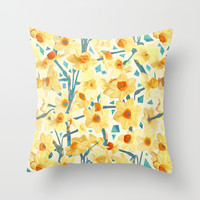 Yellow Jonquils Throw Pillow by Micklyn