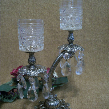 Ornate Silver, Candelabra, Two Tier, Double Votive, Cut Glass, Candle Holder, Pedestal, Chandelier Prisms, Art Deco, Regency,  Romantic