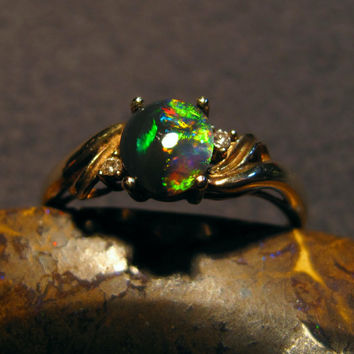 Rare Lightning Ridge Black Opal Ladies Ring 9 Carat Gold  2 Diamonds Stunning Unique Black Opal