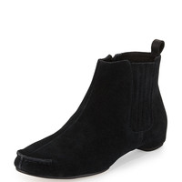 Belle Gored Suede Ankle Bootie, Black - Donald J Pliner