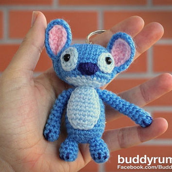 Stitch amigurumi crochet keychain, bag purse charm. Ready to ship