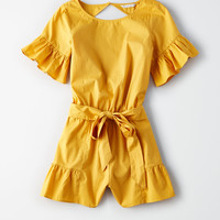 AE Open-Back Ruffle Romper, Yellow