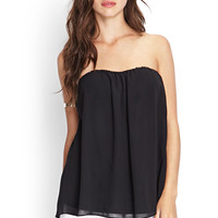 Strapless Cutout Chiffon Top