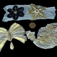Vintage Big Beaded Sequin Appliques Glamorous Accents