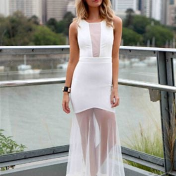 White Lace Transparent Lace Dovetail Pleated Dress B003920