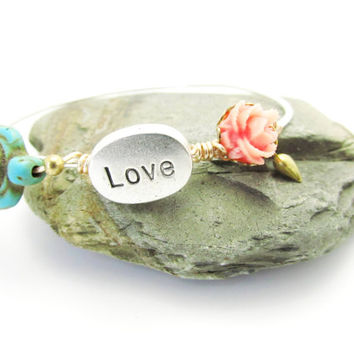 Turquoise Turtle Bangle Bracelet, Sterling Silver,  Stacking Bangles, LoVE Friendship Bridesmaid, Mothers Gift,Weddings, Graduations,Teens