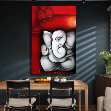 Canvas Wall Art: Ganesha Buddha Wall Art Print for Home Decor