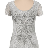 Maurices Premium Embellished Lace Tee - White