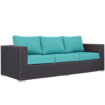 Convene Outdoor Patio Sofa Espresso Turquoise