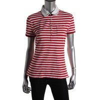 Tommy Hilfiger Womens Knit Striped Polo Top