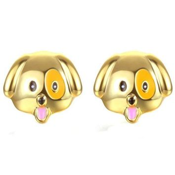 MDIGIJ5 SUSENSTONE Alloy drip earrings cute puppy earrings gold / silver / rose gold 1 Pair New Fashion Simple Dog Head Alloy Women Stud