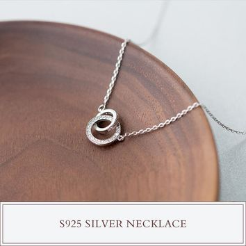 1pc real. 925 sterling silver clear white CZ interlocking Double Circle Of Life Necklace & Pendants jewelry women's GTLX1127