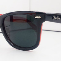 Ray Ban RB2140 Wayfarer Sunglasses Black Red Special Edition Rayban from Sunglasses For All