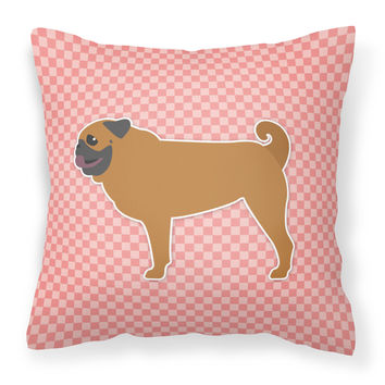 Pug Checkerboard Pink Fabric Decorative Pillow BB3647PW1414