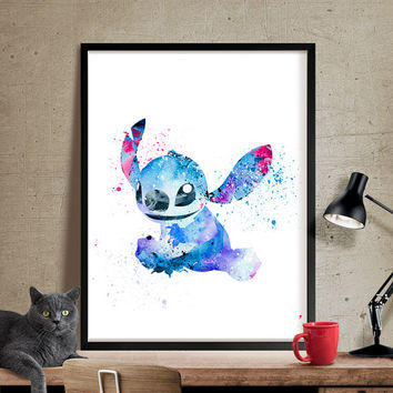 Disney Lilo and Stitch Watercolor Poster Print, Watercolor Painting, Watercolor Art, Kids Decor, Nursery, Gift, Wall Art (212)