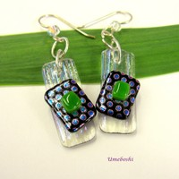 Jazzy Dotted Textured Dichroic Fused Glass Dangle Earrings - Sterling Silver