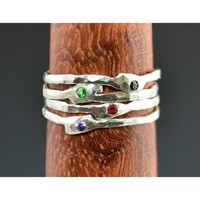 Molten Silver Birthstone/Mothers Ring - Single Ring