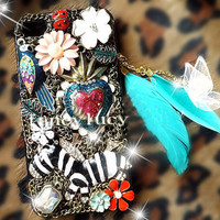 iphone 4 case - Bling iPhone 4 Case - Feather pendant charm iphone 4 case crystal iphone 4 case bird flowers unique iphone case chains zebra