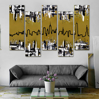 "Original abstract painting. 41x64"" 5 piece canvas art. New York skyline. Metallic gold painting. Modern wall art with black and white."