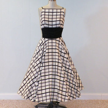 Vintage 50s Dress Black White Check Cocktail by daisyandstella