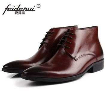 Italian Pointed Toe Brand Man Handmade Shoes Basic Designer Genuine Leather Male Footwear Men's Cowboy Martin Ankle Boots SF52
