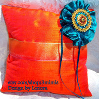 Ring Bearer Pillow - Quinceanera - Moroccan theme- Made to Order-tangerine duponi silk and Teal